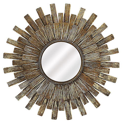 Lone Sunburst Wall Mirror, Antiqued Gold