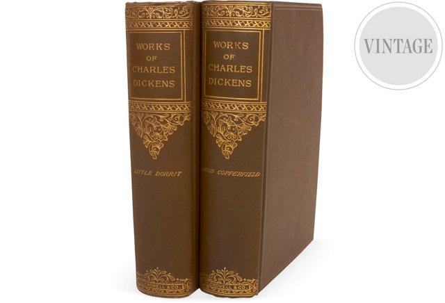 Antique Dickens Books, Set of 2
