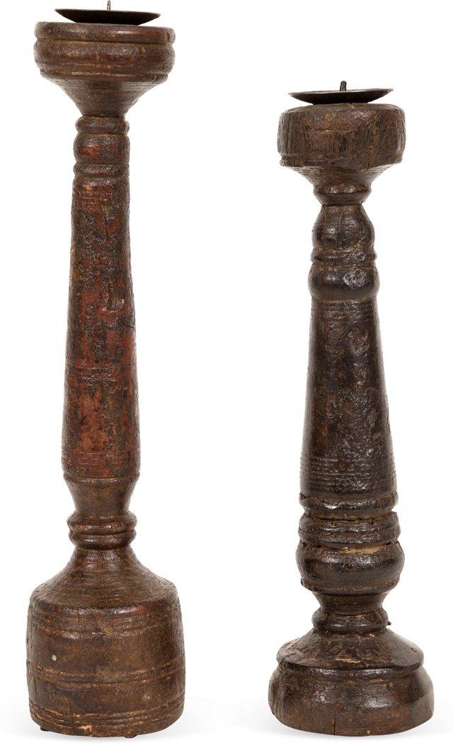 Large Wood Candlesticks, Set of 2