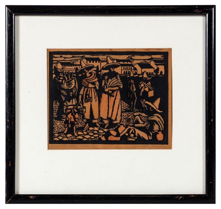 Woodblock Print, Market Scene