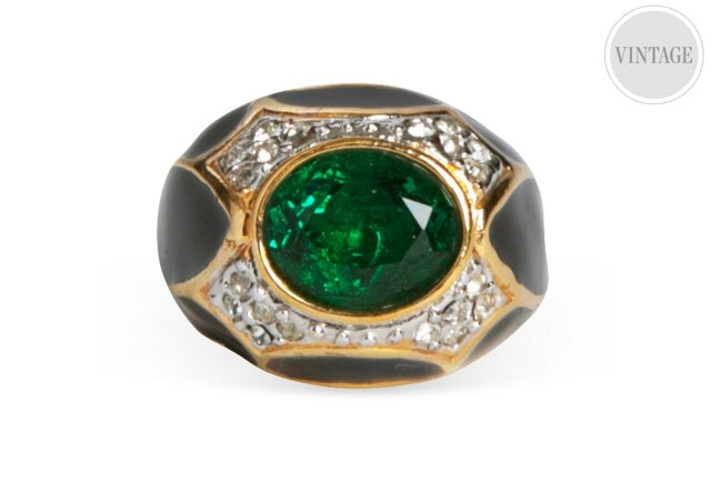 Gold-Plate & Faux-Emerald Ring