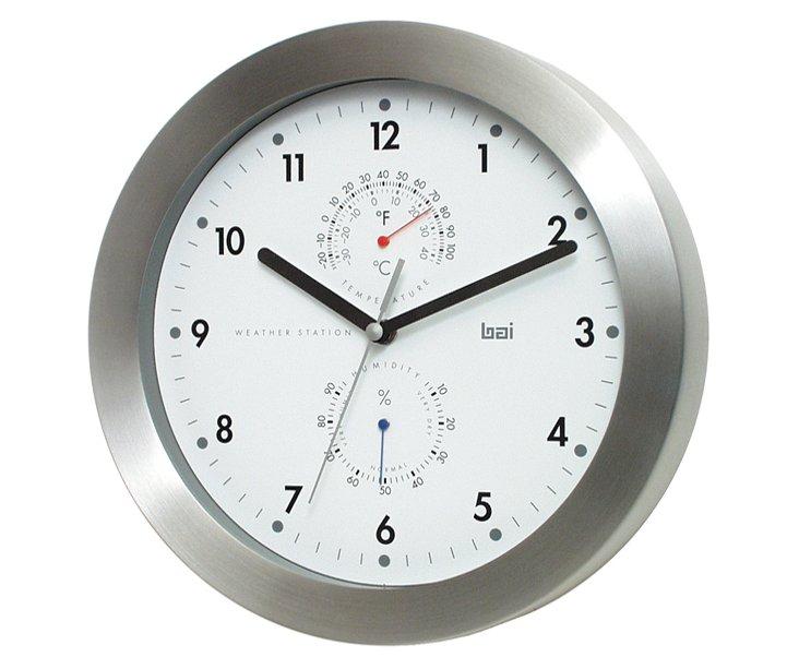 Zuri Weather Station Wall Clock, Silver