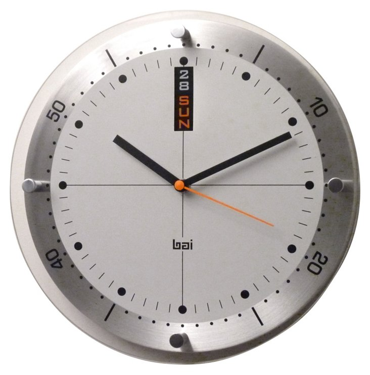 Holly Day/Date Wall Clock, Silver