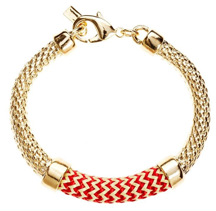 Crosby Bracelet, Gold/Red