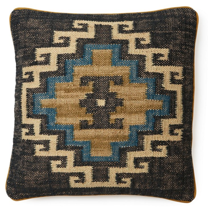 Mohegan 20x20 Jute-Blend Pillow, Indigo