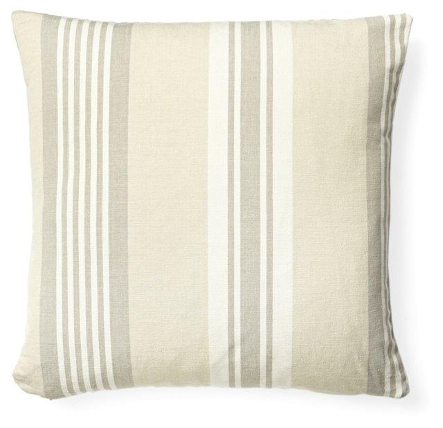 Cabana Stripe Cotton Pillow, Linen