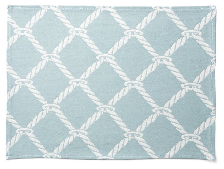 S/4 Nautical Rope Place Mats, Surf Blue