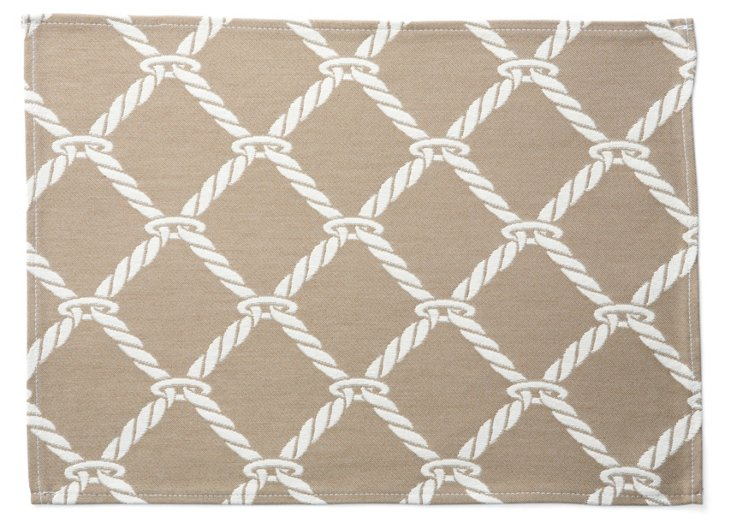S/4 Nautical Rope Place Mats, Taupe