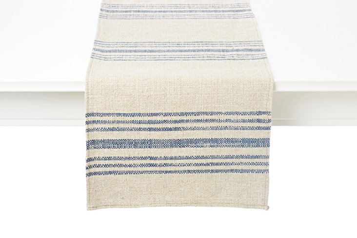 Linen Hobie Stripe Table Runner, Blue