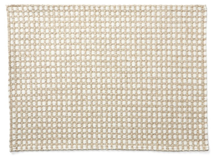 S/4 Grid Place Mats, Ivory