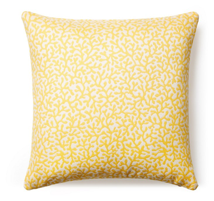 Coral Reef 24x24 Outdoor Pillow, Yellow