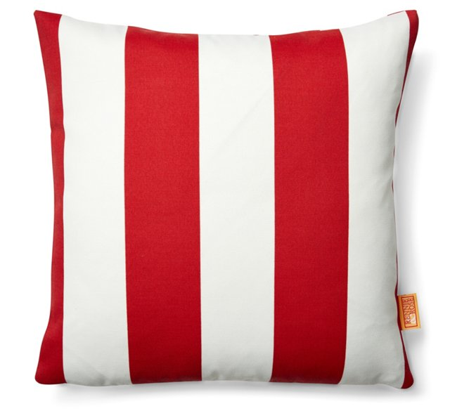 Striped 18x18 Outdoor Pillow, Red