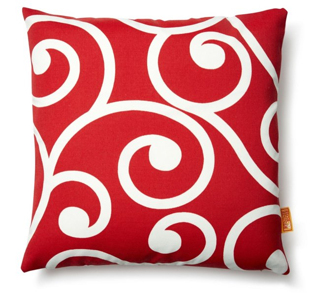 Vine 18x18 Outdoor Pillow, Red