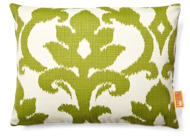 Damask 12x16 Outdoor Pillow, Green