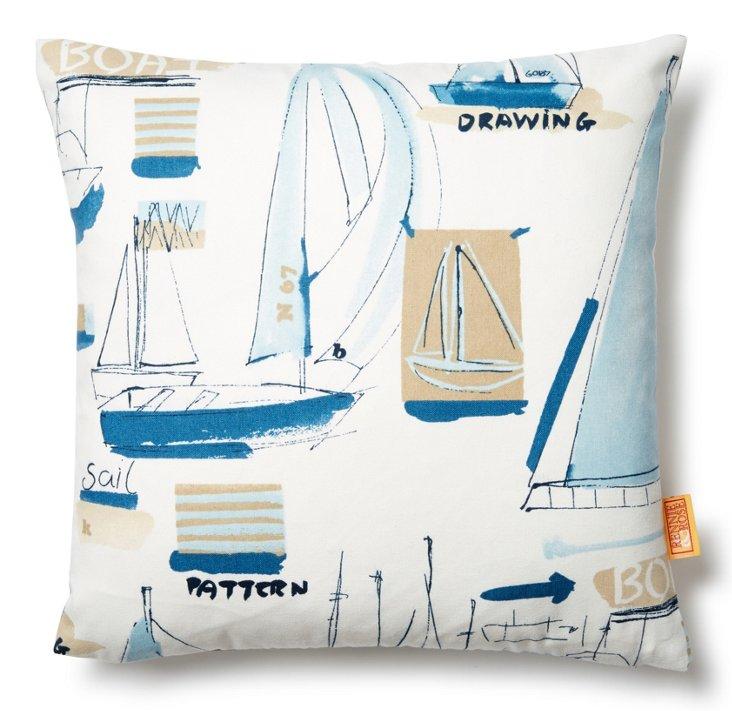 Sailboat 18x18 Outdoor Pillow, Multi