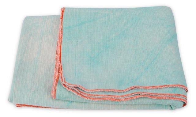 Hand-Dyed Blanket w/ Box, Mint & Orange