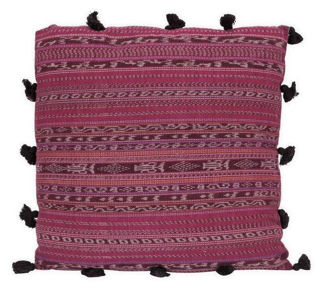 Purple Patterned Textile Pillow