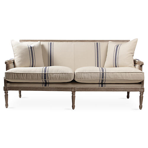 "Lafontaine 71"" Sofa, Navy French Stripe"
