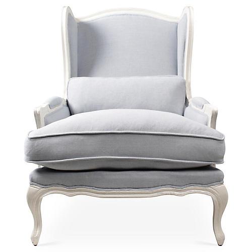 Bardot Bergere Chair, Blue/Gray Linen