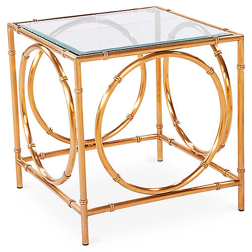 "Lana 22"" Steel Side Table, Gold"