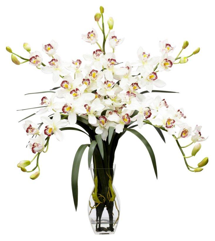 """31"""" Cymbidium in Vase, Faux"""