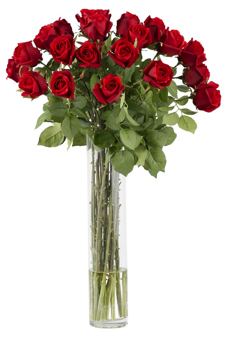 "32"" Rosebuds in Vase, Red"