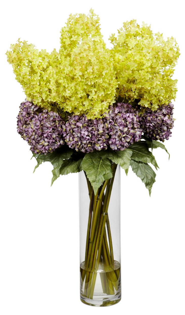 "40"" Hydrangea Bundle in Vase, Purple"