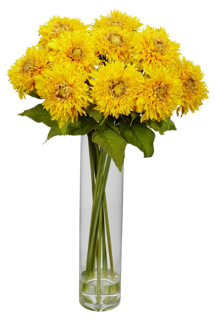 """27"""" Sunflower in Cylinder, Faux"""