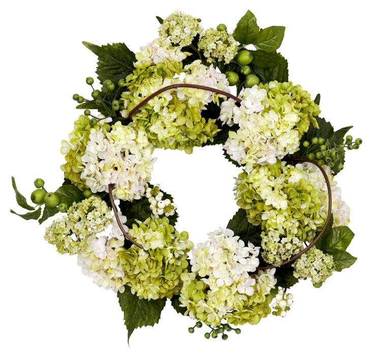 """22"""" Hydrangea Wreath, Faux"""