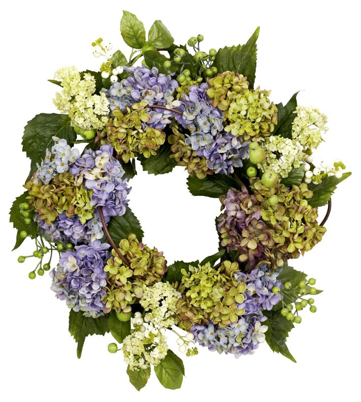 """22"""" Hydrangea & Berries Wreath, Faux"""