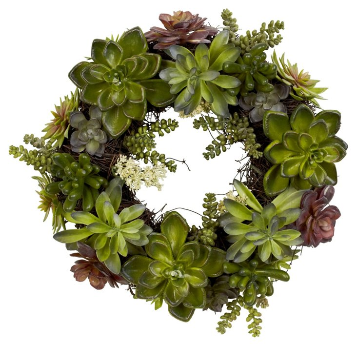 "20"" Succulent Wreath, Faux"