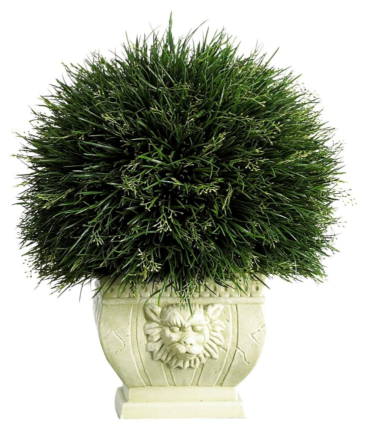 "18"" Potted Grass in Vase, Faux"