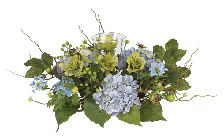 "18"" Candle Hydrangea Arrangement, Faux"