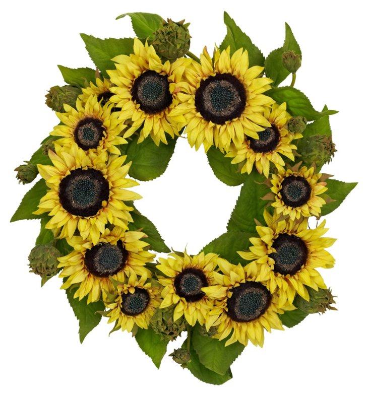 "22"" Sunflower Wreath, Faux"