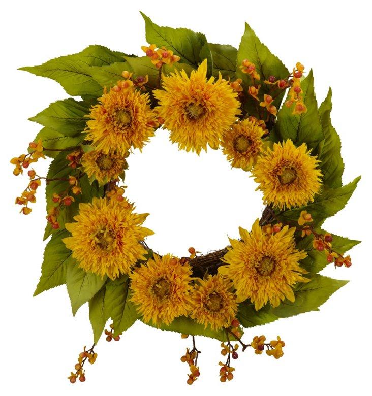 """22"""" Sunflower & Leaf Wreath, Faux"""