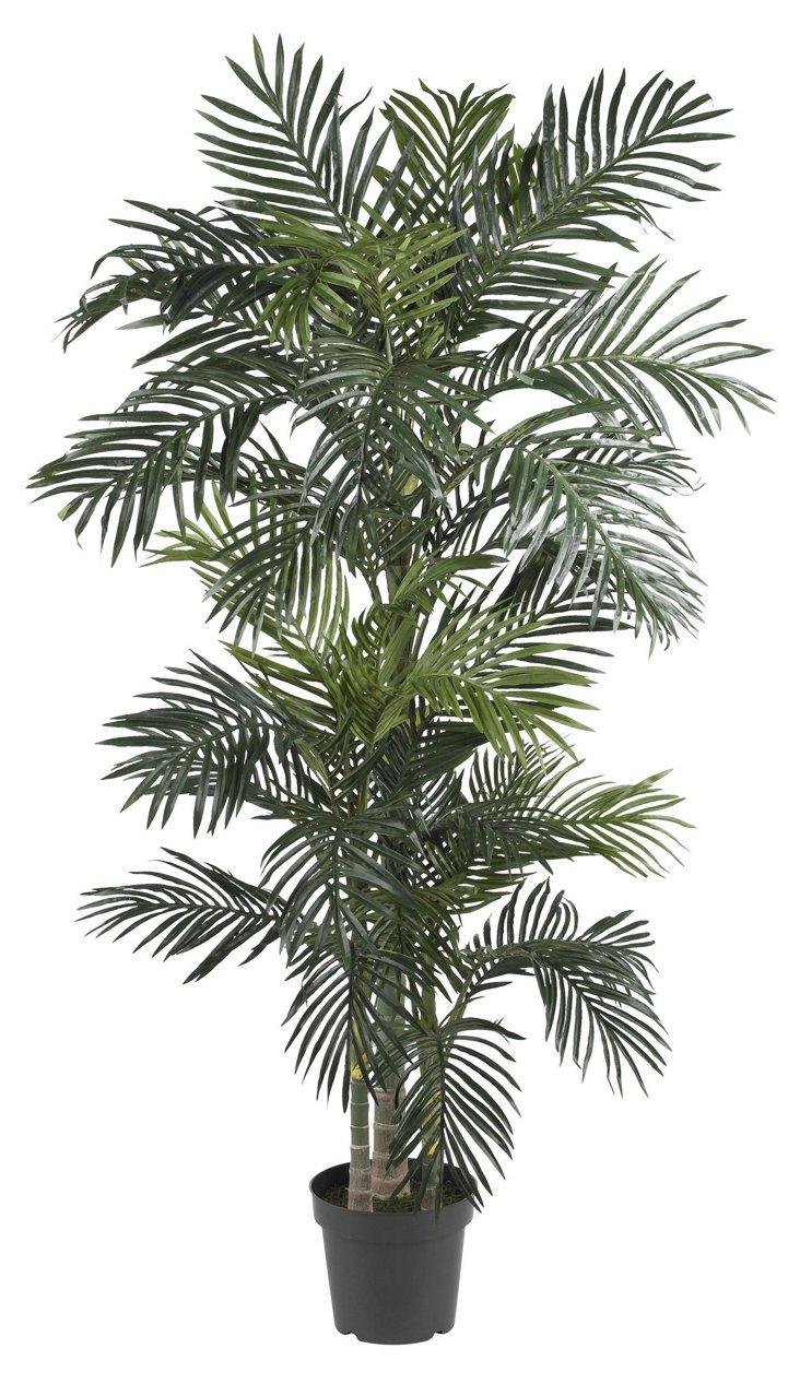 7' Golden Kane Palm Tree, Faux
