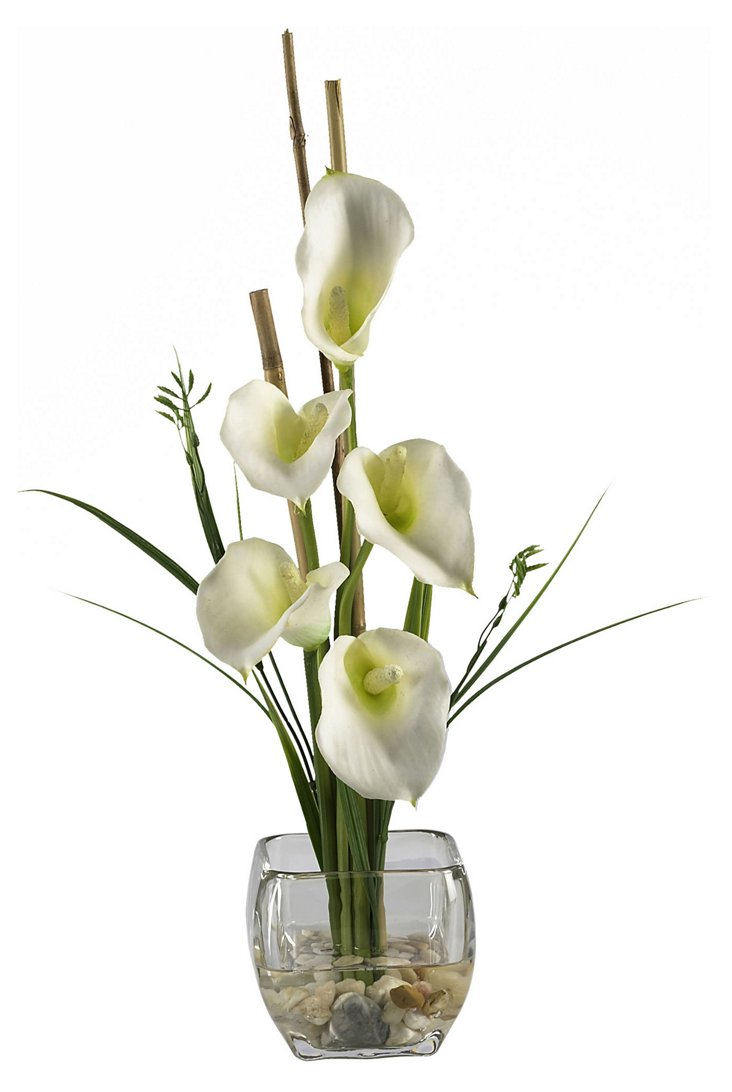 "18"" Lilly & Bamboo in Glass Vase, Cream"
