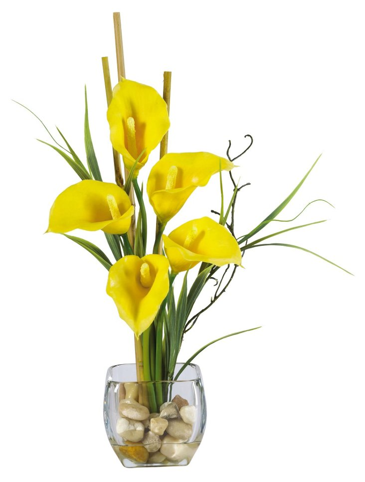 "18"" Lilly & Bamboo in Glass Vase, Yellow"