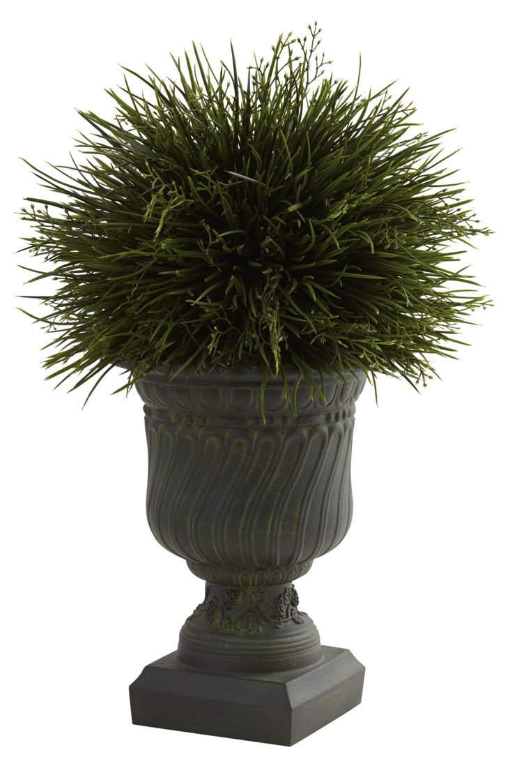 "17"" Potted Grass in Urn, Faux"
