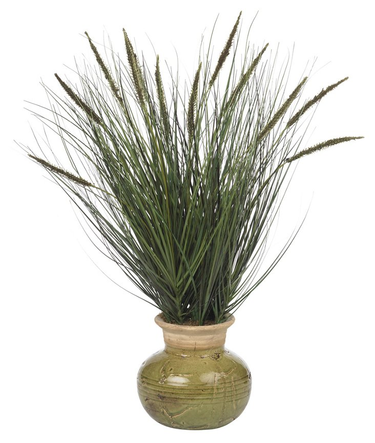 "27"" Grass & Cattails in Pot, Faux"