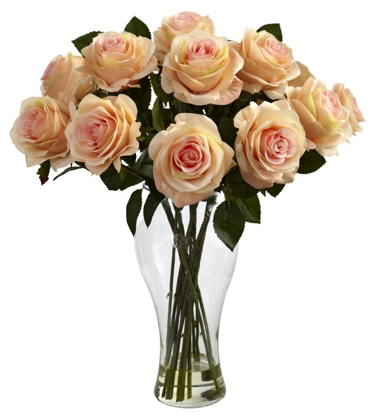 "18"" Roses in Vase, Faux"