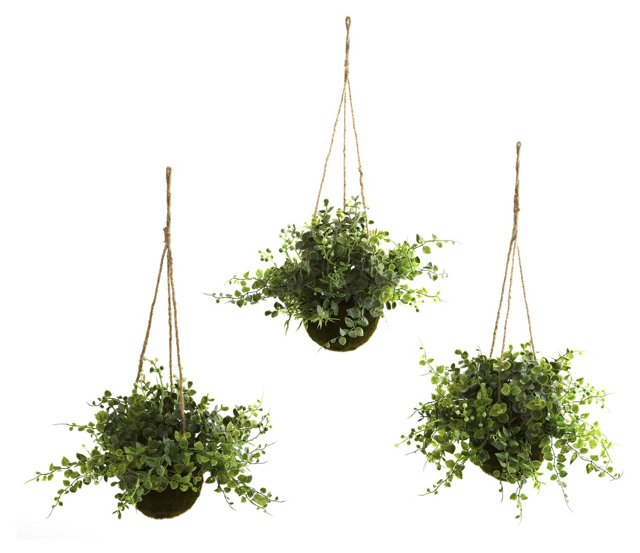 "S/3 12"" Hanging Baskets w/ Plants, Faux"