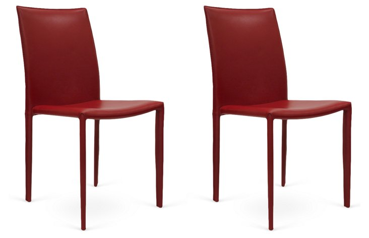 Red Varick Dining Chairs, Pair