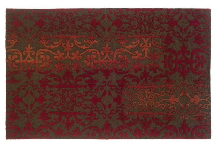 10' x 13' Lincoln Rug, Brown/Red