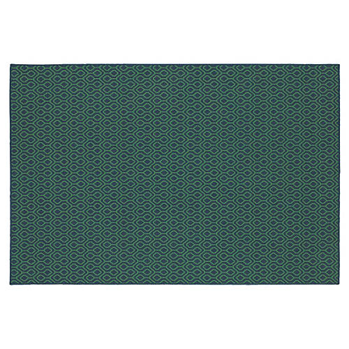 Clara Outdoor Rug, Navy/Green