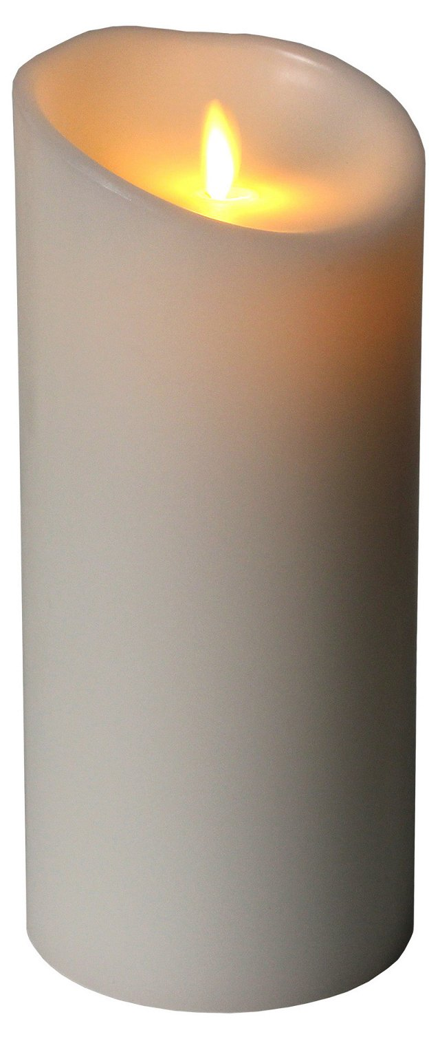 "9"" Flameless Candle w/ Timer, White"