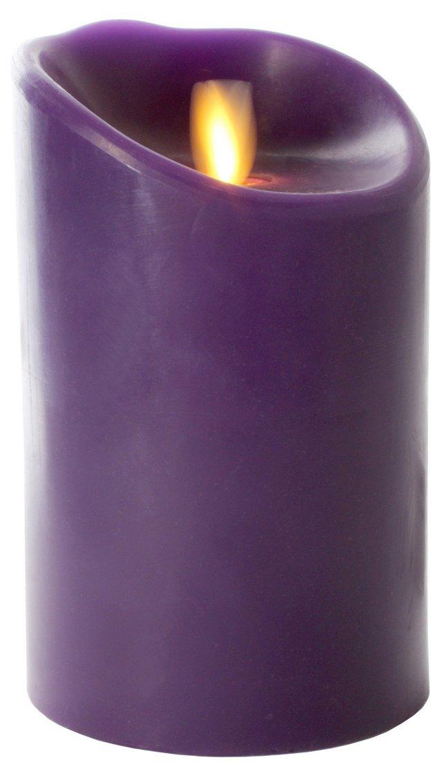 "5"" Pillar Flameless Candle, Purple"