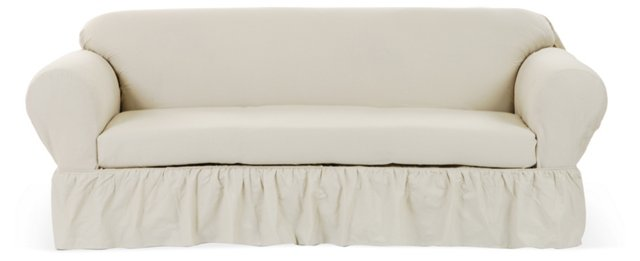 Ruffled Slipcover, White