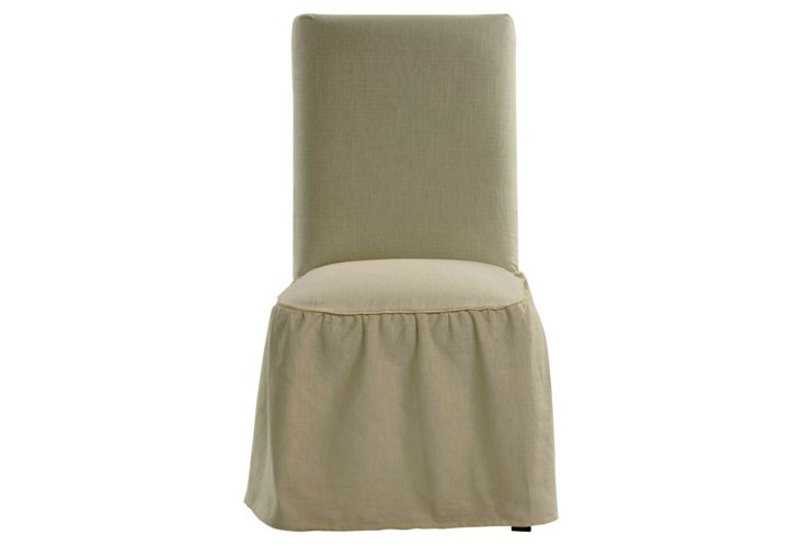 Cotton Dining Chair Slipcover, Khaki