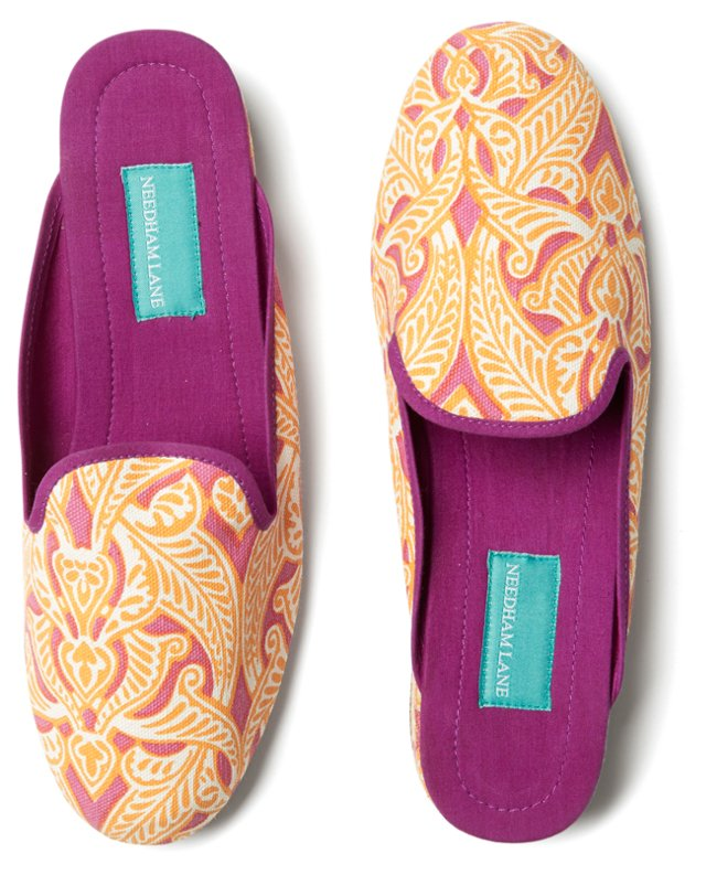 Clare Slippers, Yellow/Pink